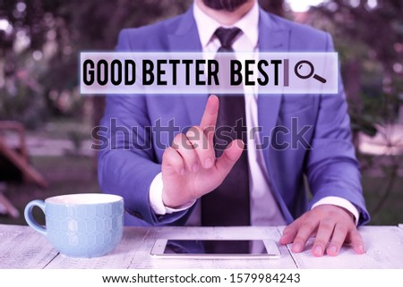 Handwriting text writing Good Better Best. Concept meaning Increase quality Improvement Achievement Excellence Businessman with pointing finger in front of him.
