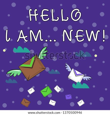 Handwriting text writing Hello I Am New. Concept meaning used as greeting or to begin telephone conversation Many Colorful Airmail Flying Letter Envelopes and Two of Them with Wings.