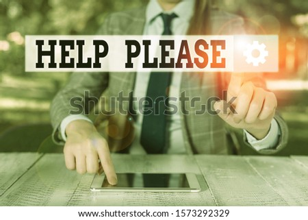 Handwriting text writing Help Please. Concept meaning used to make a request or deanalysisd for someone for assistance Female business person sitting by table holding mobile phone.