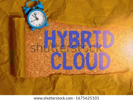 Handwriting text writing Hybrid Cloud. Concept meaning computing environment that combines public and a private cloud. stock photo
