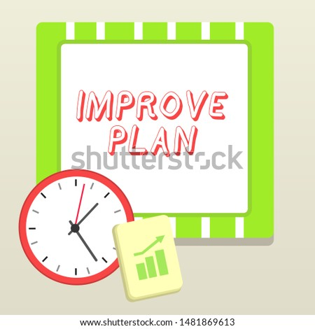 Handwriting text writing Improve Productivity. Concept meaning to increase the machine and process efficiency Layout Wall Clock Notepad with Escalating Bar Graph and Arrow Pointing Up.