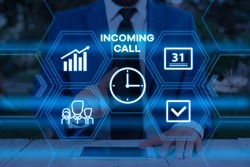 Handwriting text writing Incoming Call. Concept meaning Inbound Received Caller ID Telephone Voicemail Vidcall Male human wear formal work suit presenting presentation using smart device.