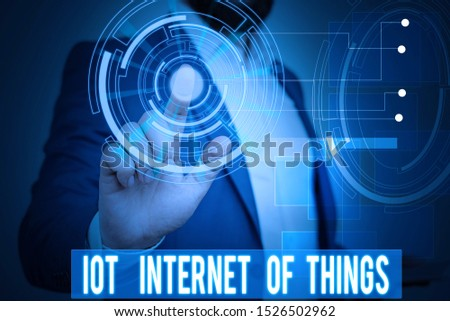 Handwriting text writing Iot Internet Of Things. Concept meaning Network of Physical Devices send and receive Data Male human wear formal work suit presenting presentation using smart device. #1526502962