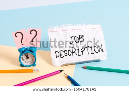 Handwriting text writing Job Description. Concept meaning a formal account of an employee s is responsibilities. #1504178141