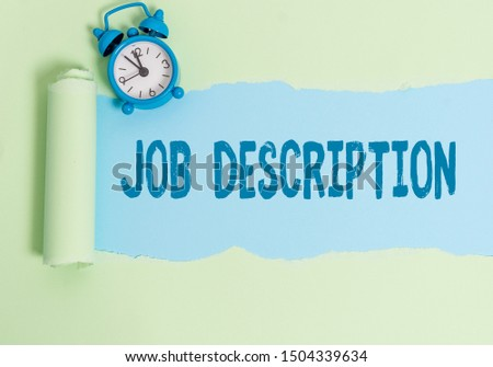 Handwriting text writing Job Description. Concept meaning a formal account of an employee s is responsibilities. #1504339634