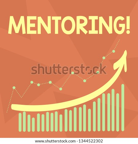 Handwriting text writing Mentoring. Concept meaning To give advice or support to a younger less experienced demonstrating Combination of Colorful Column and Line Graphic Chart with Arrow Going Up.