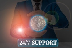 Handwriting text writing 24 Or 7 Support. Concept meaning twentyfour hours seven days a week support to client Elements of this image furnished by NASA.