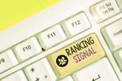 Handwriting text writing Ranking Signal. Concept meaning characteristic of a website that search engine algorithms.