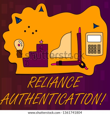 Handwriting text writing Reliance Authentication. Concept meaning part of trust based identity attribution process Set of Professional Goal Icons for Planning, Advancement and Recognition.