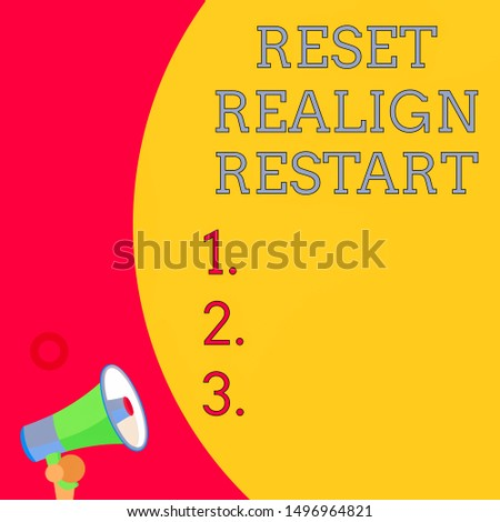 Handwriting text writing Reset Realign Restart. Concept meaning Life audit will help you put things in perspectives Half part blank huge balloon empty text with small megaphone. Announcement.