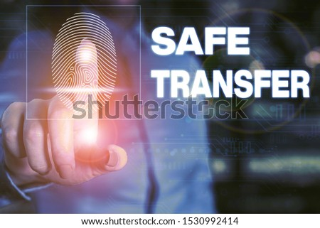 Handwriting text writing Safe Transfer. Concept meaning Wire Transfers electronically Not paper based Transaction Woman wear formal work suit presenting presentation using smart device. #1530992414