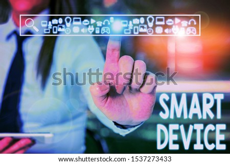 Handwriting text writing Smart Device. Concept meaning Electronic gadget that able to connect share interact with user Woman wear formal work suit presenting presentation using smart device. #1537273433