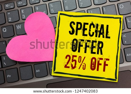 Handwriting text writing Special Offer 25 Off. Concept meaning Discounts promotion Sales Retail Marketing Offer Written on black bordered yellow page touched pink heart on computer keyboard.