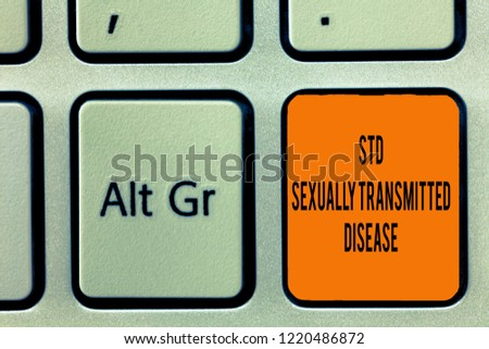 Handwriting text writing Std Sexually Transmitted Disease. Concept meaning Infection spread by sexual intercourse #1220486872