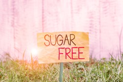 Handwriting text writing Sugar Free. Concept meaning containing an artificial sweetening substance instead of sugar Plain empty paper attached to a stick and placed in the green grassy land.