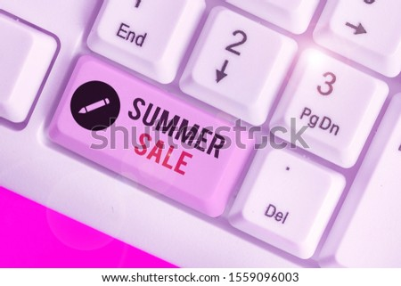 Handwriting text writing Summer Sale. Concept meaning time when a store sells products at much lower prices than usual.