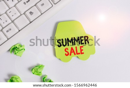 Handwriting text writing Summer Sale. Concept meaning time when a store sells products at much lower prices than usual Green note paper in the shape of the car. Copy space on the green note paper.