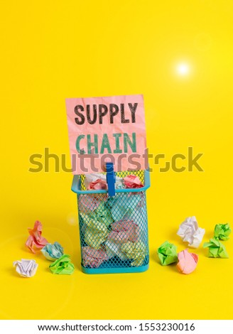 Handwriting text writing Supply Chain. Concept meaning network between a company and suppliers in producing a product Trash bin crumpled paper clothespin empty reminder office supplies yellow. #1553230016