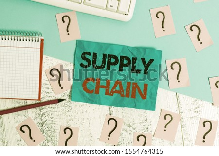 Handwriting text writing Supply Chain. Concept meaning network between a company and suppliers in producing a product Writing tools, computer stuff and math book sheet on top of wooden table. #1554764315