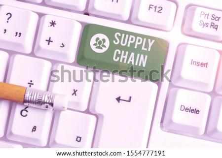 Handwriting text writing Supply Chain. Concept meaning network between a company and suppliers in producing a product White pc keyboard with empty note paper above white background key copy space. #1554777191
