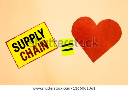 Handwriting text writing Supply Chain. Concept meaning System of organization and processes from supplier to consumer Yellow piece paper reminder equal sign red heart sending romantic feelings. #1166061361