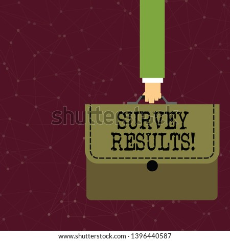 Handwriting text writing Survey Results. Concept meaning result of activity that collects or acquires statistical data Businessman Hand Carrying Colorful Briefcase Portfolio with Stitch Applique.