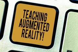 Handwriting text writing Teaching Augmented Reality. Concept meaning the use of AR apps directly in the classroom Keyboard key Intention to create computer message pressing keypad idea.