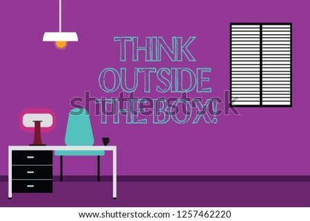 Handwriting text writing Think Outside The Box. Concept meaning Be unique different ideas bring brainstorming Work Space Minimalist Interior Computer and Study Area Inside a Room photo.