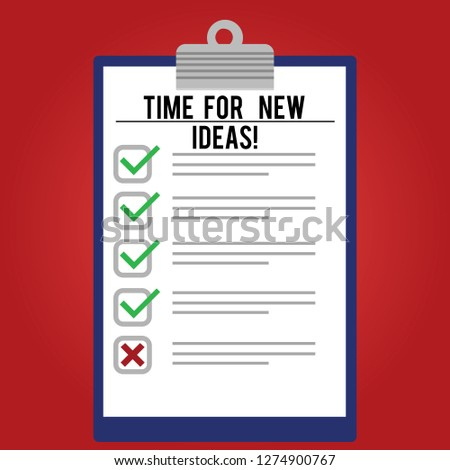 Handwriting text writing Time For New Ideas. Concept meaning Rethink things fresh creative plans business develop Lined Color Vertical Clipboard with Check Box photo Blank Copy Space.