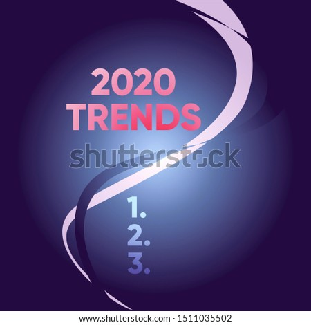 Handwriting text writing 2020 Trends. Concept meaning things that is famous for short period of time in current year Two Intermittent Curves Waves Dividing Sun Beamed Background in Halves.