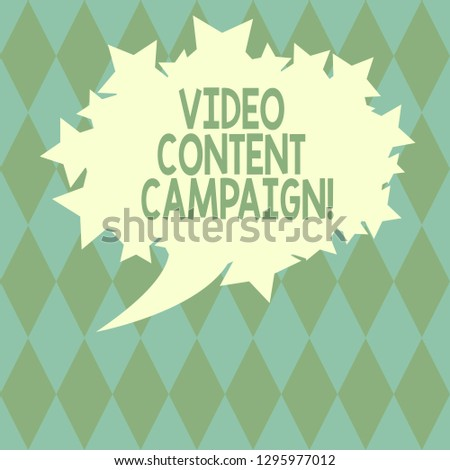 Handwriting text writing Video Content Campaign. Concept meaning Integrates engaging video into marketing campaigns Blank Oval Color Speech Bubble with Stars as Outline photo Text Space.