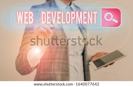 Handwriting text writing Web Development. Concept meaning dealing with developing websites for hosting via intranet.