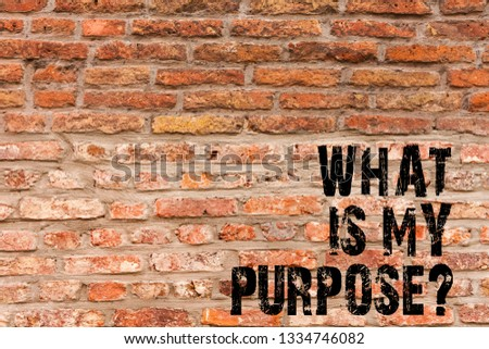 Handwriting text writing What Is My Purposequestion. Concept meaning Direction Importance Discernment Reflection Brick Wall art like Graffiti motivational call written on the wall.
