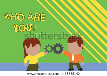 Handwriting text writing Who Are You Question. Concept meaning asking about someone identity or demonstratingal information Standing young couple sharing gear. Man tie woman skirt commerce relation.