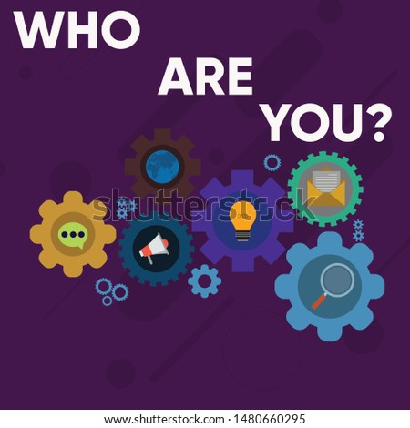 Handwriting text writing Who Are You Question. Concept meaning asking about someone identity or demonstratingal information Set of Global Online Social Networking Icons Inside Colorful Cog Wheel Gear.