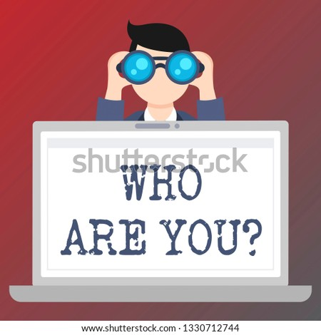Handwriting text writing Who Are You question. Concept meaning Identify yourself demonstratingal characteristics.