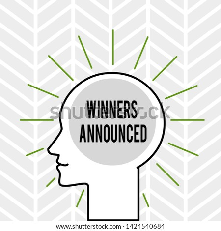 Handwriting text writing Winners Announced. Concept meaning Announcing who won the contest or any competition Outline Silhouette Human Head Surrounded by Light Rays Blank Text Space.