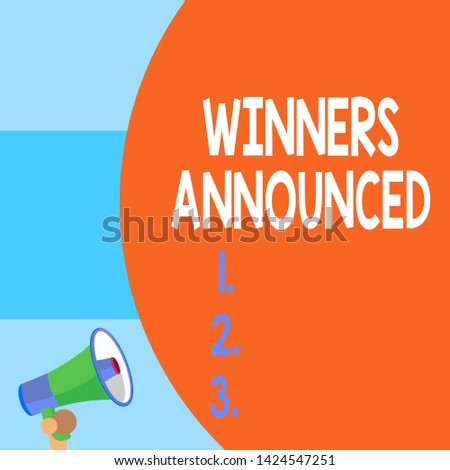 Handwriting text writing Winners Announced. Concept meaning Announcing who won the contest or any competition Half part blank huge balloon empty text with small megaphone. Announcement.