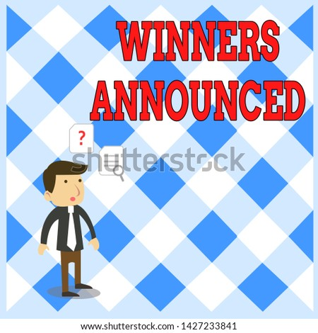 Handwriting text writing Winners Announced. Concept meaning Announcing who won the contest or any competition Young Male Businessman Office Worker Standing Searching Problem Solution.