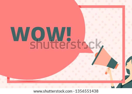 Handwriting text writing Wow. Concept meaning Expression of somebody speechless amazed overjoyed Huge Blank Speech Bubble Round Shape. Slim Woman Holding Colorful Megaphone.