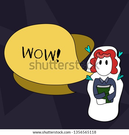Handwriting text writing Wow. Concept meaning Expression of somebody speechless amazed overjoyed Girl Holding Book with Small Hearts Around her and Two Color Speech Bubble.