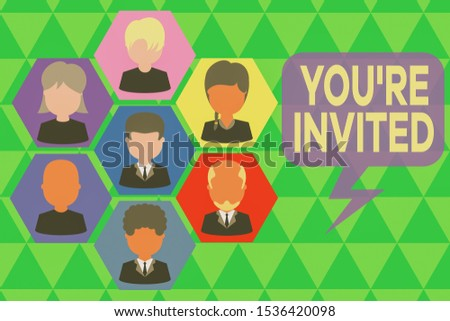 Handwriting text writing You Re Invited. Concept meaning Please join us in our celebration Welcome Be a guest Pictures frames chief executive and staff. Organization employees structure.