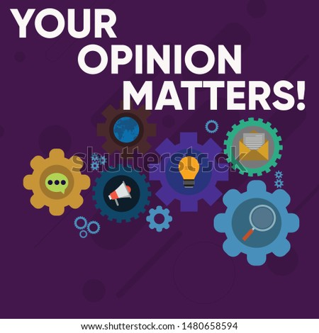 Handwriting text writing Your Opinion Matters. Concept meaning show you do not agree with something that just been said Set of Global Online Social Networking Icons Inside Colorful Cog Wheel Gear.