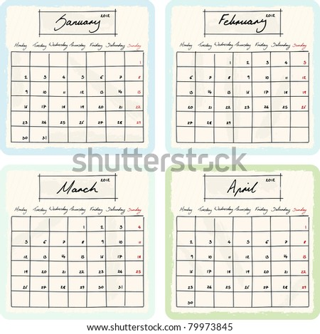 Handwritten 2012 Calendar with grunge Elements. Months January, February, March and April. Raster Version.
