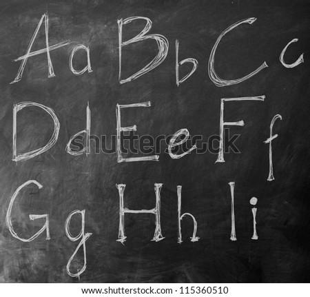 Handwritten chalk ABC on a blackboard