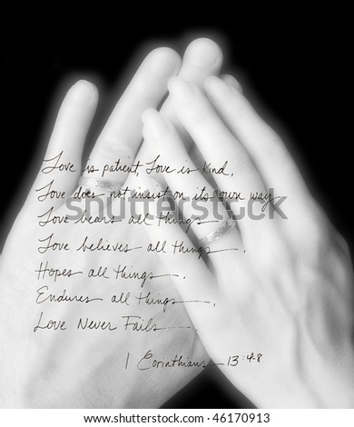 handwritten Corinthians layered over married hands