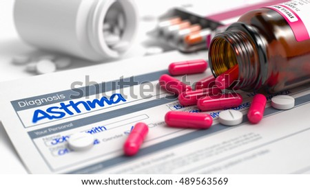 Stock Photo Handwritten Diagnosis Asthma in the Extract From the History of Disease. Medicaments Composition of Red Pills, Blisters of Pills and Bottle of Tablets. 3D Illustration.