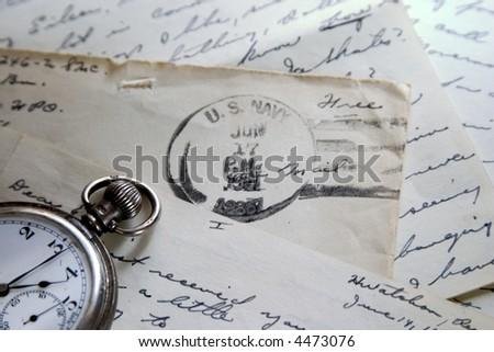Handwritten letter, old pocket watch