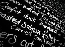 handwritten menu board