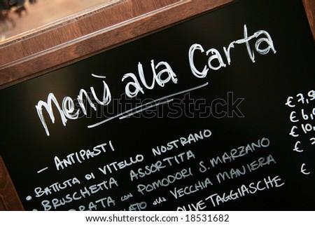 Handwritten menu in Italian restaurant